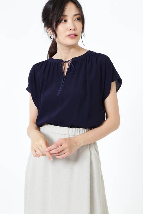 【アナウンサー 竹内由恵さん着用】楊柳襟リボンブラウス