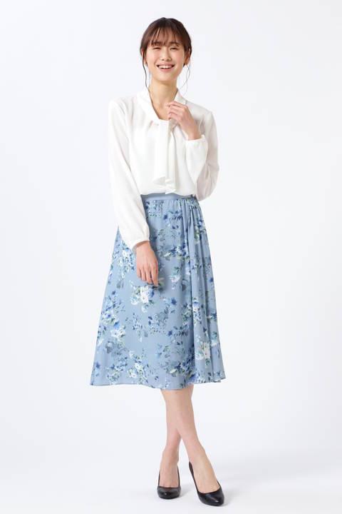 ウォーターフラワープリントスカート