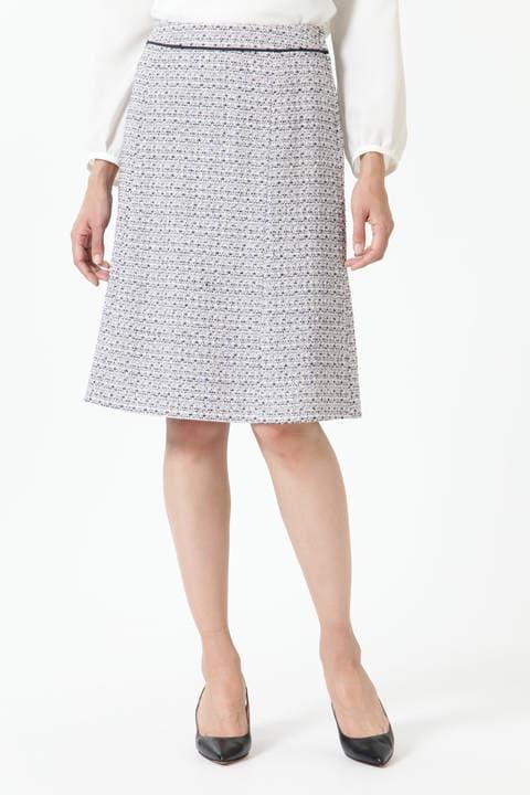 【先行予約 1月下旬-2月上旬入荷予定】シフォン使いツイードスカート