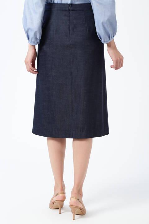 【先行予約 3月上旬-3月中旬入荷予定】ターンバックウエストデニムタイトスカート