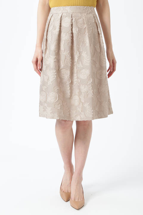 【先行予約 3月中旬-3月下旬入荷予定】カットジャカードスカート