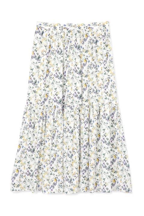 【先行予約 2月下旬-3月上旬入荷予定】[WEB限定商品]フラワープリントティアードスカート