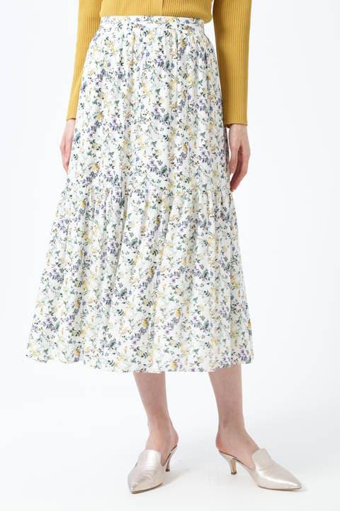 [WEB限定商品]フラワープリントティアードスカート