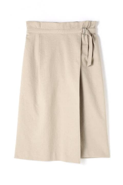 麻混アシンメトリーラップスカート