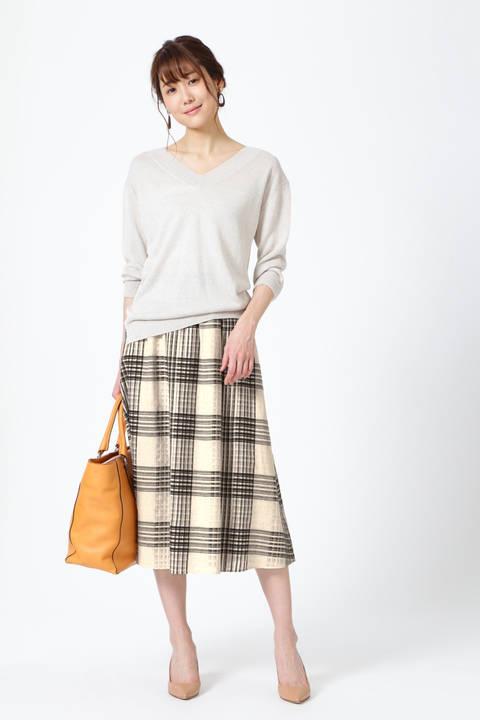 【雑誌 Oggi 5月号掲載】シアーチェックミディ丈スカート