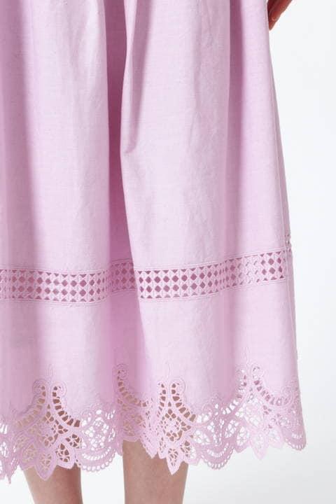 【雑誌 Oggi 5月号掲載】[ウォッシャブル]レースエッジロングスカート