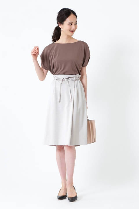 [ウォッシャブル]ミラノリブリボン付スカート