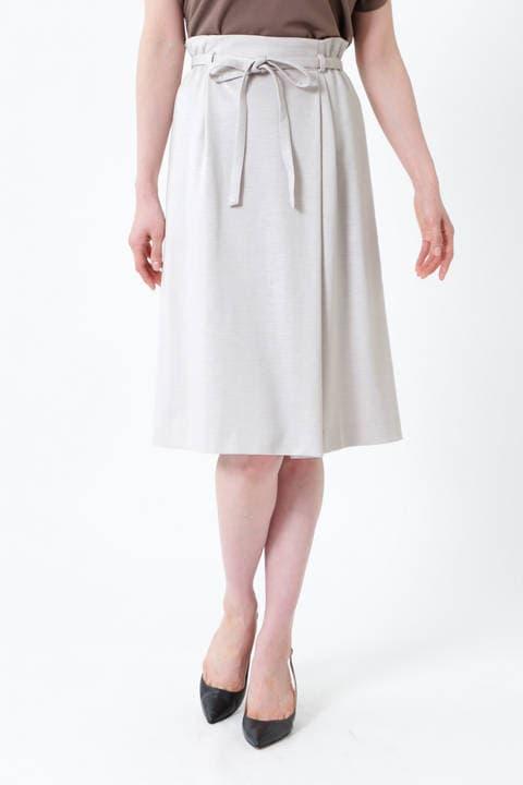 【先行予約 4月下旬-5月上旬 入荷予定】[ウォッシャブル]ミラノリブリボン付スカート
