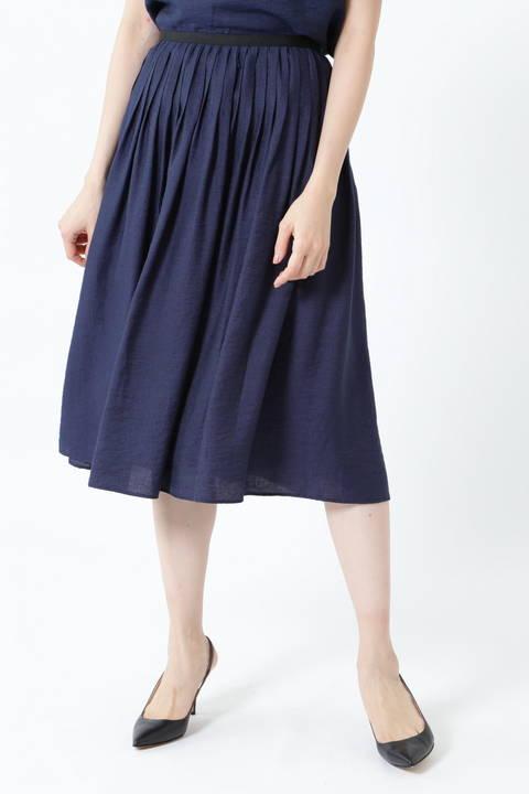 【先行予約 4月下旬-5月上旬 入荷予定】麻混ピンタックセットアップスカート