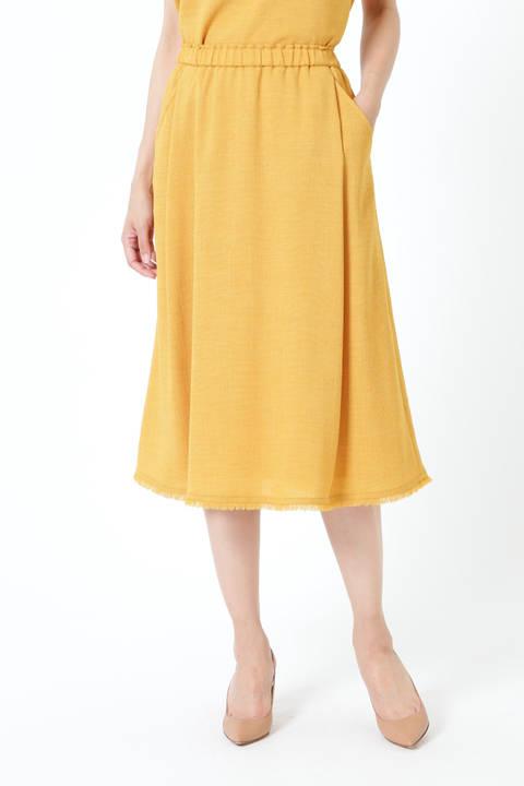 【先行予約 6月上旬-6月中旬 入荷予定】ゴムギャザーフリンジスカート