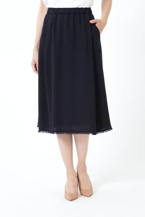 【アナウンサー 久富慶子さん着用】ゴムギャザーフリンジスカート