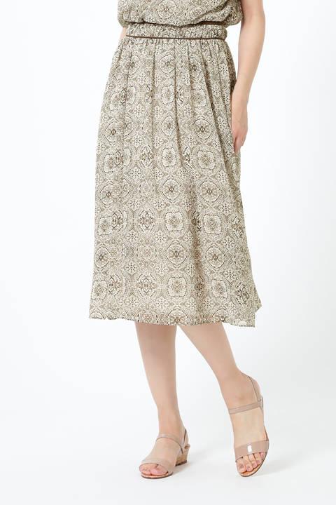 [ウォッシャブル]アラベスクプリントシフォンスカート