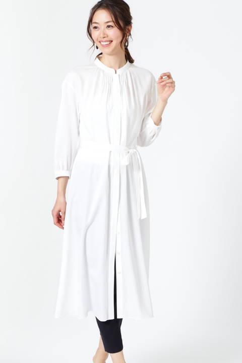 【ドラマ 水沢エレナさん着用】フィブリルサテンピンタックディテールワンピース