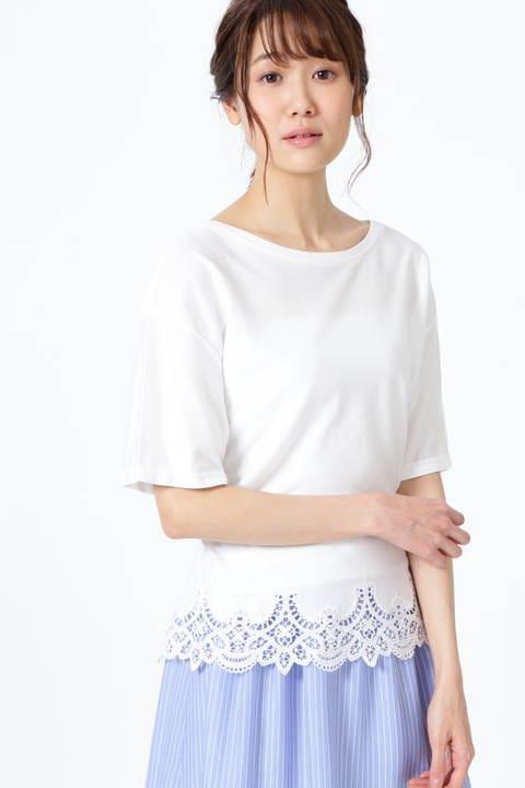 【雑誌 Oggi 5月号掲載】[ウォッシャブル]レースエッジTシャツ