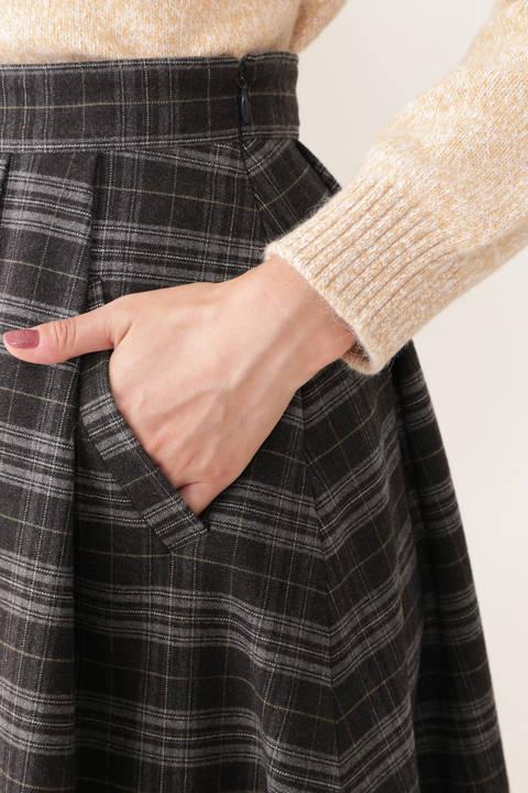 【先行予約 9月下旬-10月上旬入荷予定】チェック柄タックフレアスカート
