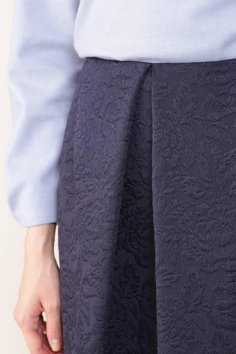 【先行予約 11月上旬-中旬入荷予定】[Jクオリティ]ラメフラワージャカードスカート