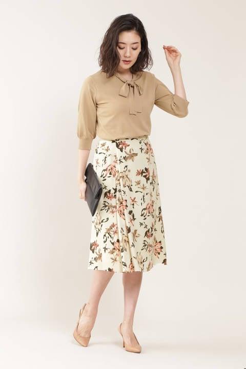 【先行予約 7月下旬-8月上旬入荷予定】[ウォッシャブル]フラワープリントスカート