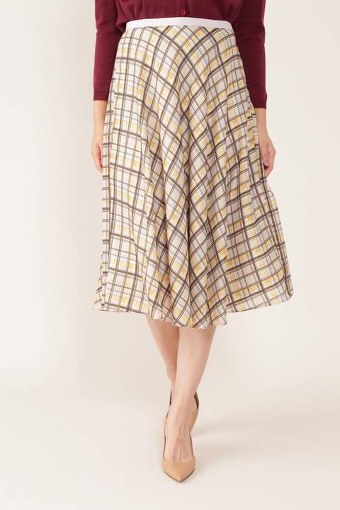 【先行予約 7月下旬-8月上旬入荷予定】[ウォッシャブル]シアーチェックフレアースカート