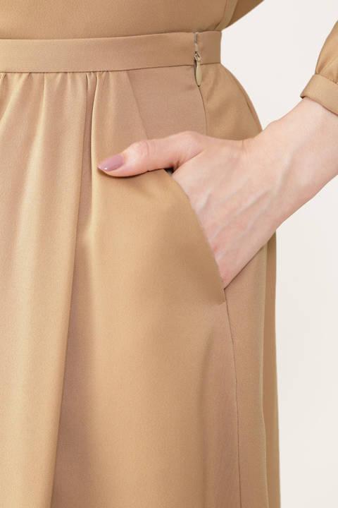 [ウォッシャブル]ポリエステルツイルフロントボタンタックフレアースカート
