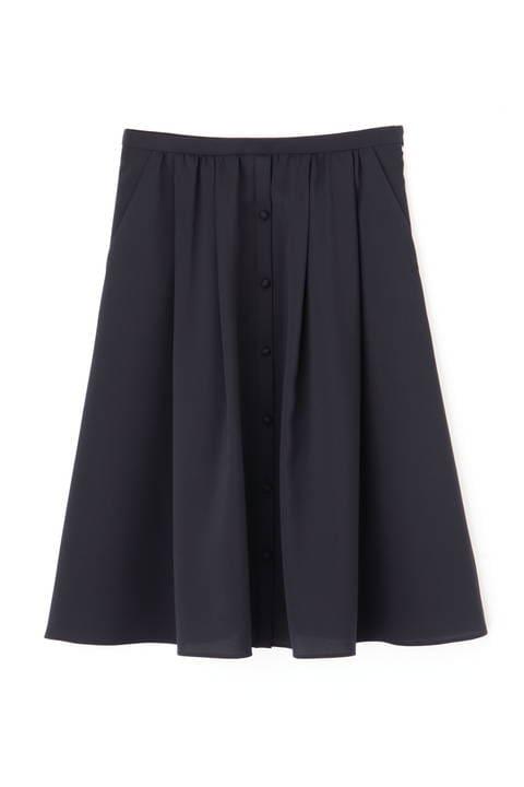 【先行予約 7月下旬-8月上旬入荷予定】[ウォッシャブル]ポリエステルツイルフロントボタンタックフレアースカート
