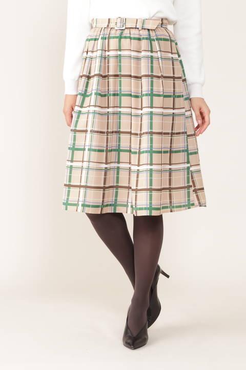 【ドラマ 桜井ユキさん着用】[ウォッシャブル]ベルト付きチェックスカート
