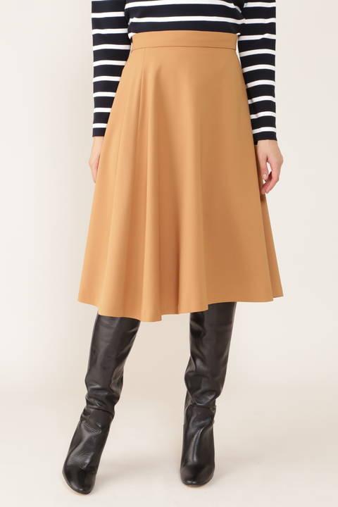 【先行予約 9月上旬-中旬入荷予定】[ウォッシャブル]ダブルクロスフレアーカラースカート