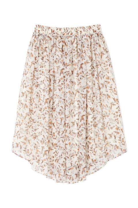 [ウォッシャブル]フラワープリントウェストゴムギャザーフレアースカート