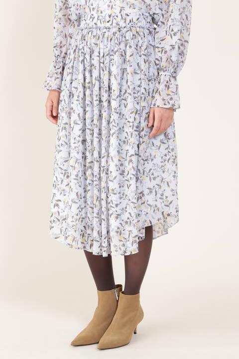 【先行予約 9月上旬-中旬入荷予定】[ウォッシャブル]フラワープリントウェストゴムギャザーフレアースカート