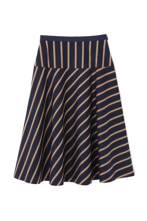 【先行予約 8月下旬-9月上旬入荷予定】[WEB限定商品]サテンストライプフレアースカート