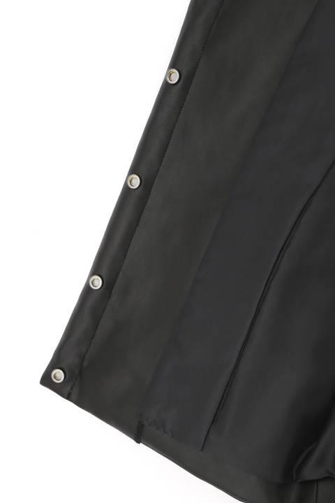 キルティング合皮ノーカラージャケット