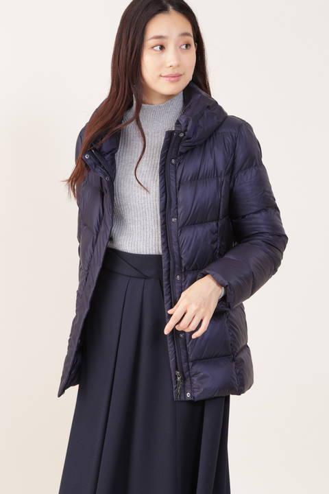 【先行予約 11月上旬-中旬入荷予定】シャイニーナイロンダウンミドル丈コート