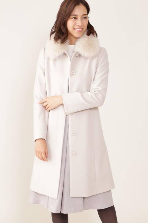 【先行予約 9月上旬-中旬入荷予定】カシミア混フォックスファー襟ステンカラーコート