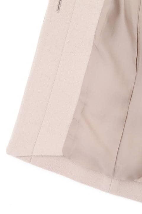 カシミア混フォックスファー襟ステンカラーコート