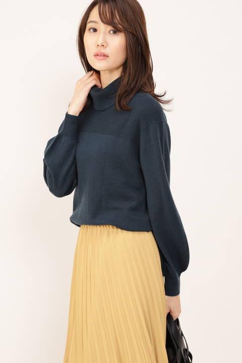 【STORYweb掲載商品】[ウォッシャブル]カシミヤ混タートルネックニット