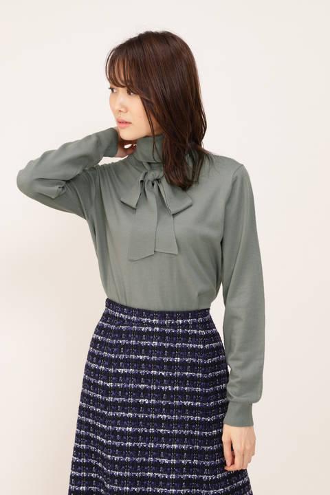 【STORYweb掲載商品】リボンタイタートルニット