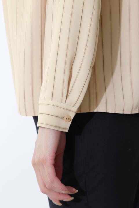 【ドラマ 比嘉愛未さん着用】[ウォッシャブル]先染めストライプブラウス