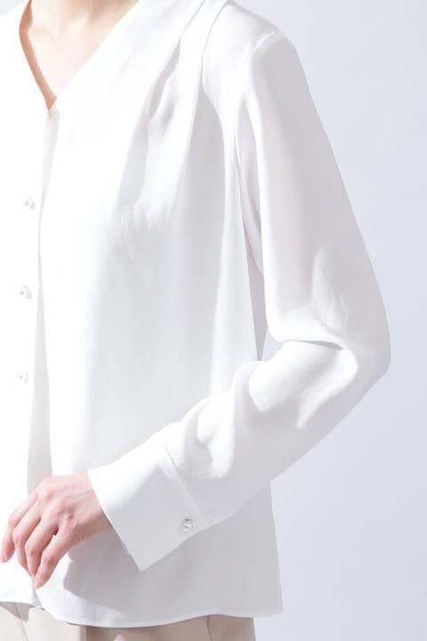 【ドラマ 鈴木京香さん着用】[ウォッシャブル]《B ability》ショルダータックブラウス