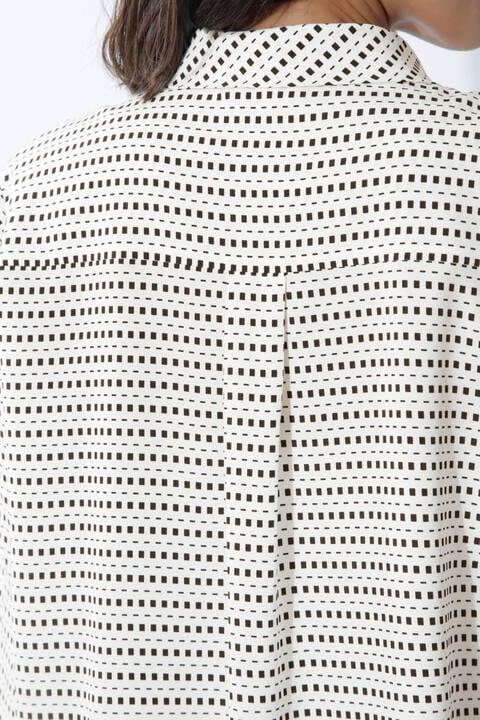 [ウォッシャブル]幾何ボーダープリントブラウス