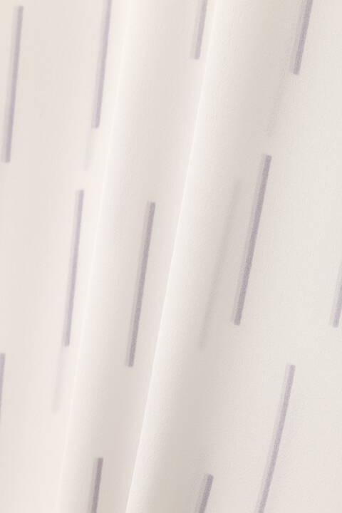 [ウォッシャブル]ストライプ幾何プリントブラウス