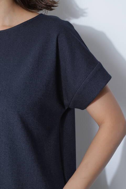 【アナウンサー 加藤綾子さん着用】[ウォッシャブル]デニム調ジャージーセットアップブラウス