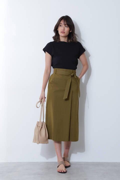 【アナウンサー 加藤綾子さん着用】[ウォッシャブル]ベルト付タックロングスカート