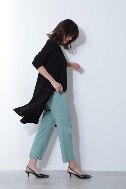 [ウォッシャブル]麻混シャンブレーツイルパンツ