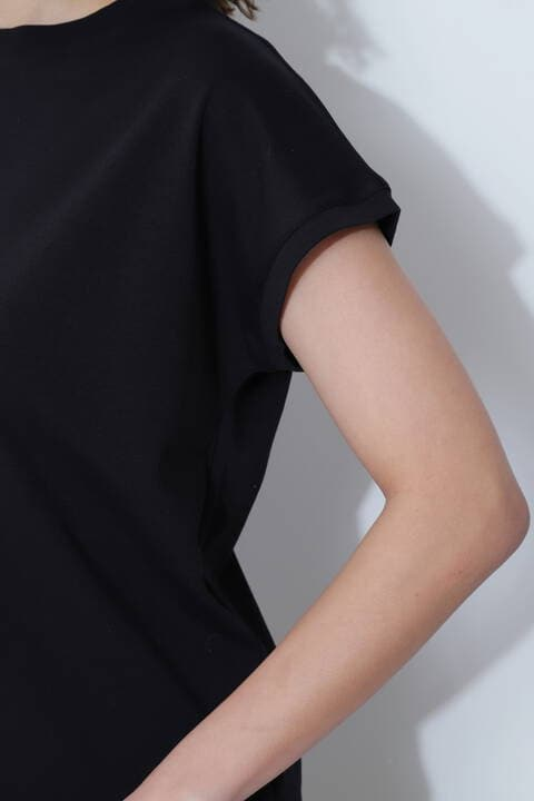[ウォッシャブル]モックネックTシャツ