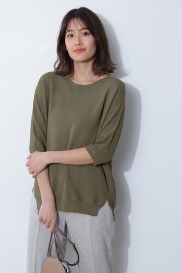 [ウォッシャブル]麻ハイゲージニット