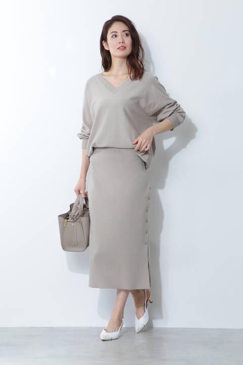 [ウォッシャブル]ハイゲージニットセットアップスカート
