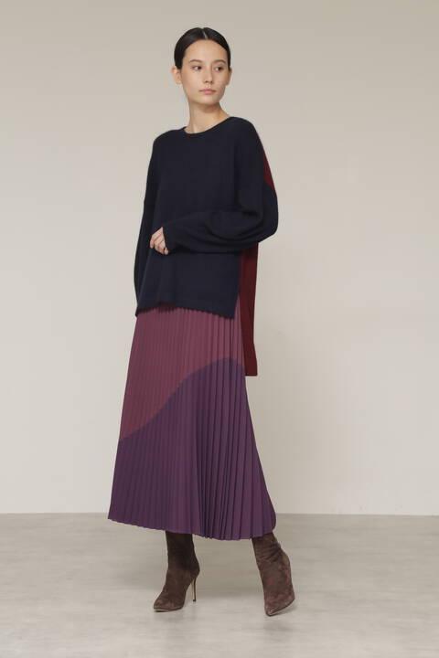 【先行予約 11月中旬-下旬入荷予定】バイカラープリーツスカート