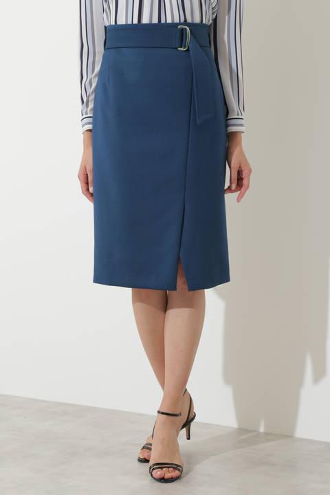 [ウォッシャブル]T/Rダブルクロスラップ風スカート