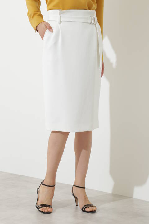 【高島彩さん着用】[ウォッシャブル]シェルタリングツイルスカート
