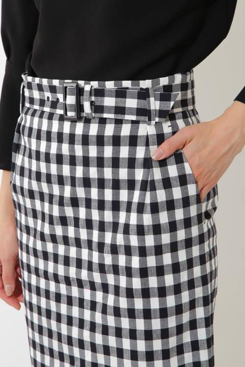 【CLASSY 4月号掲載】麻混ギンガム/麻調サップ ミディ丈タイトスカート