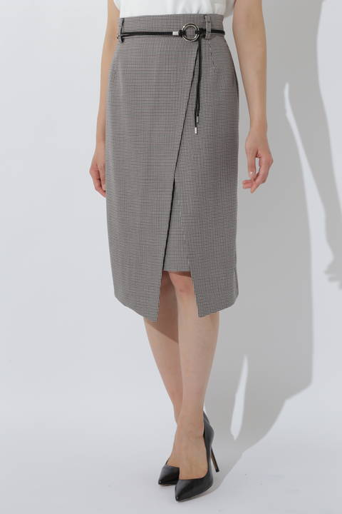 《B ability》クラシカルチェックラップ風タイトスカート